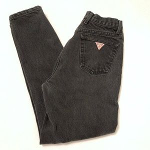 GUESS Vintage High Rise Tapered Zip Leg Mom Jeans